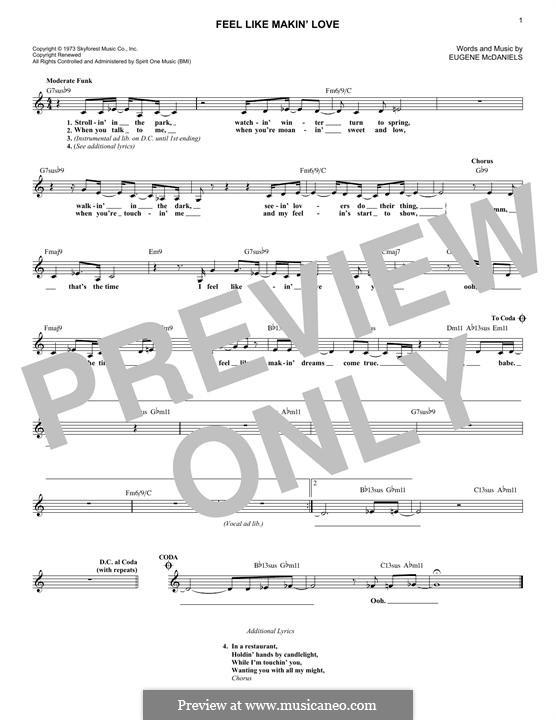 Feel Like Making Love: Melodische Linie by Eugene McDaniels
