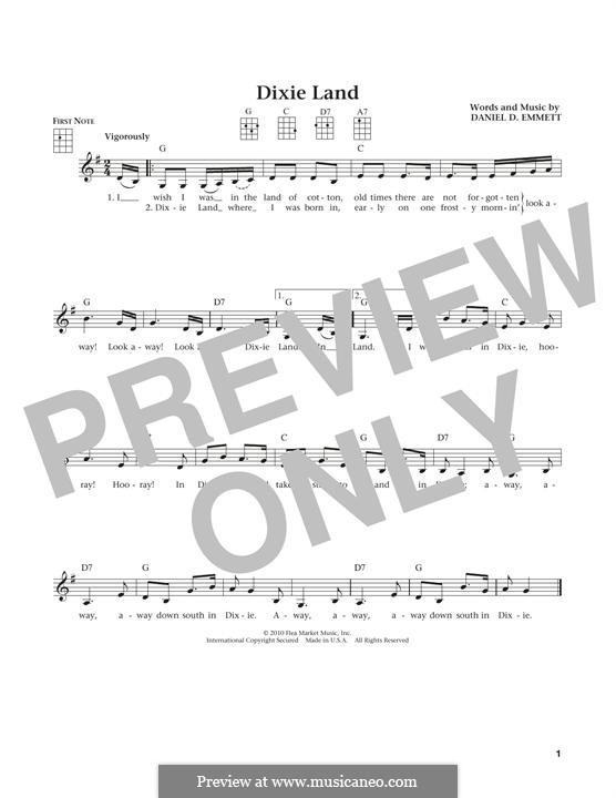 Dixie Land: Für Ukulele by Daniel Decatur Emmett