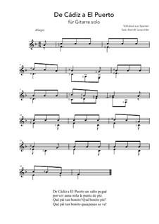 De Cádiz a El Puerto: For guitar solo (F Major) by folklore