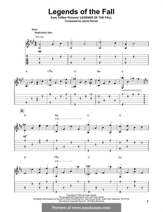 Legends of the Fall: Für Gitarre mit Tabulatur by James Horner