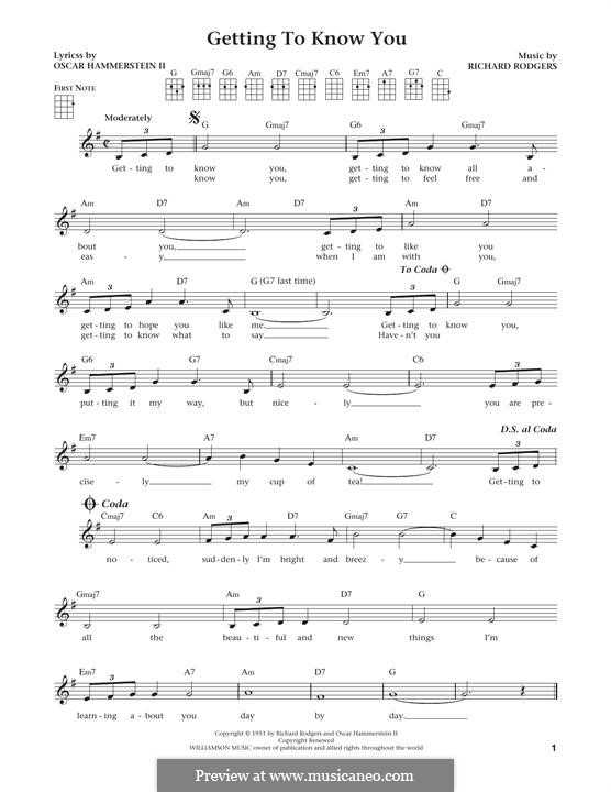 Getting to Know You (from The King and I): Für Ukulele by Richard Rodgers