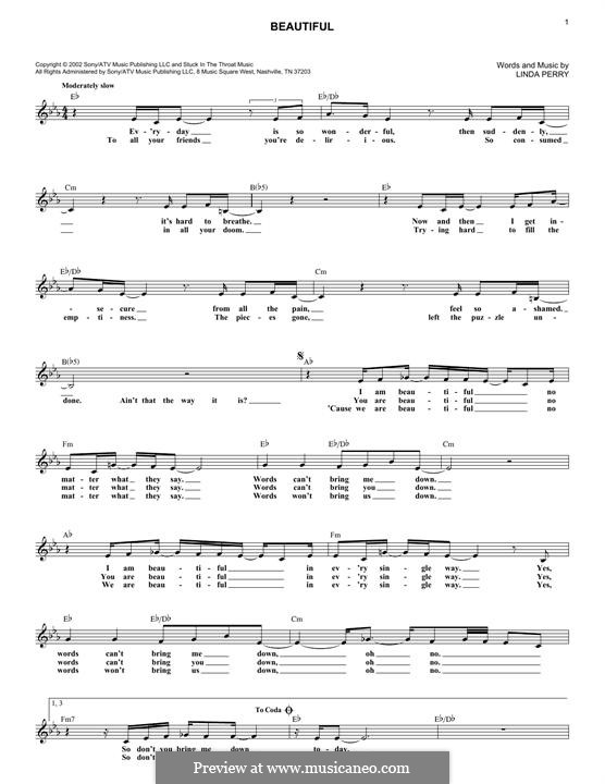 Beautifull (Christina Aguilera & Beverly McClellan): Melodische Linie by Linda Perry