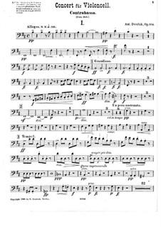 Konzert für Cello und Orchester in h-Moll, B.191 Op.104: Kontrabass-Stimme by Antonín Dvořák
