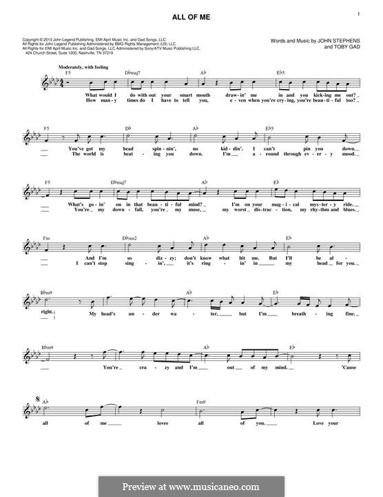 All of Me: Melodische Linie by John Stephens, Tobias Gad