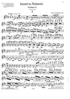 Konzert für Cello und Orchester in h-Moll, B.191 Op.104: Violinstimme I by Antonín Dvořák
