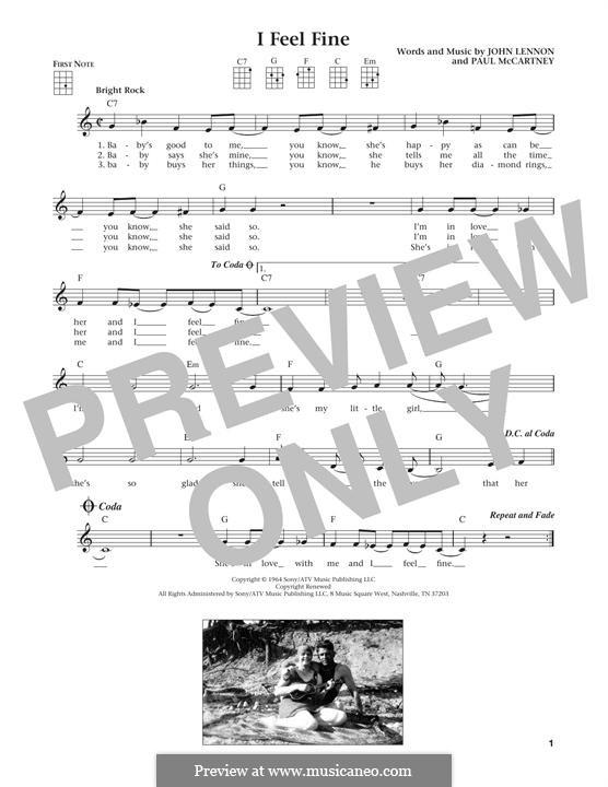 I Feel Fine (The Beatles): Für Ukulele by John Lennon, Paul McCartney