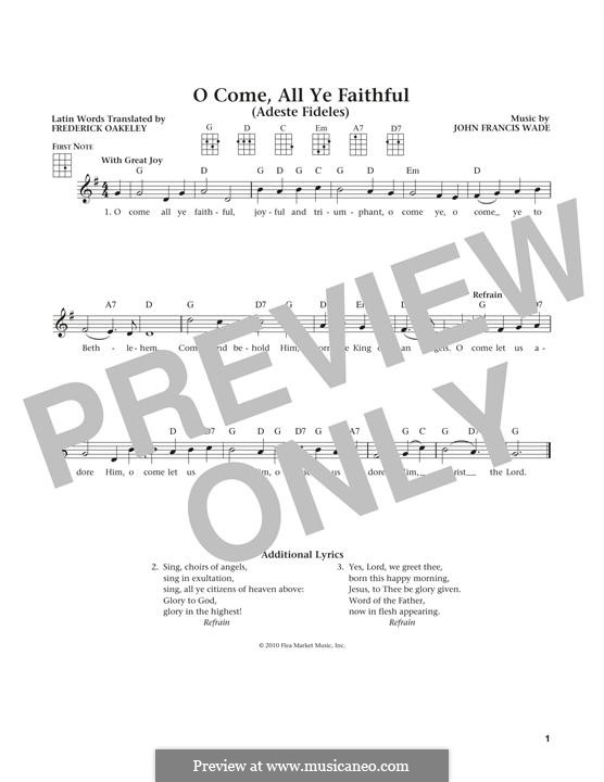 O Come, All Ye Faithful (Printable Scores): Für Ukulele by John Francis Wade