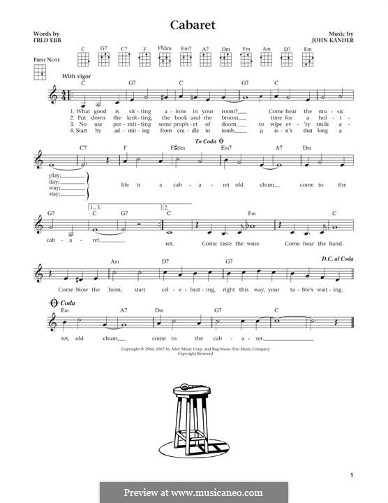 Cabaret (Liza Minnelli): Für Ukulele by John Kander