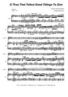 Nr.9 O du, der Gutes predigt zu Zion: For solo trumpet and brass quartet by Georg Friedrich Händel