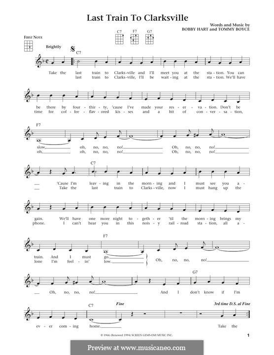 Last Train to Clarksville (The Monkees): Für Ukulele by Bobby Hart, Tommy Boyce