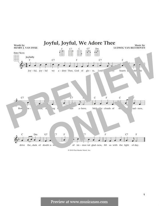 Ode an die Freude: Version for ukulele by Ludwig van Beethoven