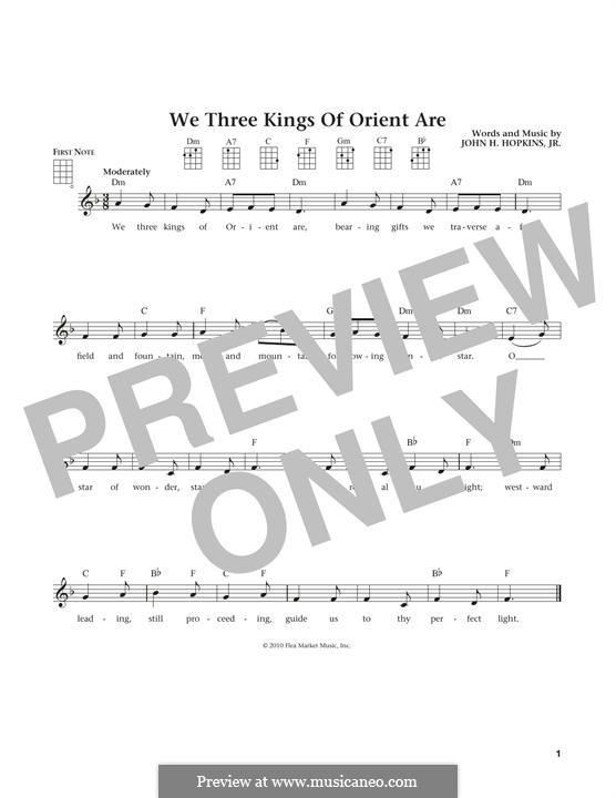We Three Kings of Orient are: Für Ukulele by John H. Hopkins Jr.