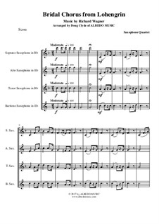 Brautlied: For saxophone quartet by Richard Wagner