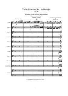 Konzert für vier Violinen und Streicher Nr.1 in D-Dur, RV 549: Score, parts by Antonio Vivaldi
