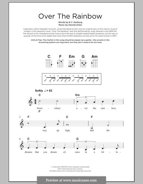 Over the Rainbow (from The Wizard of Oz): Für Ukulele by Harold Arlen
