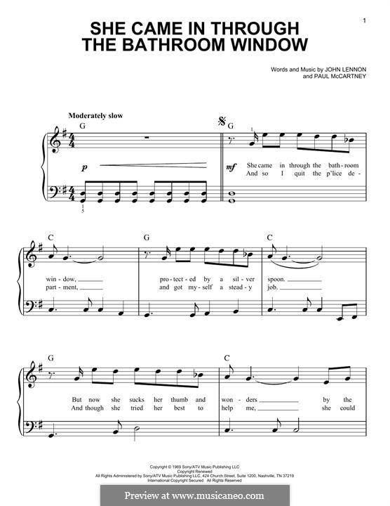She Came in Through the Bathroom Window (The Beatles): Für Klavier by John Lennon, Paul McCartney