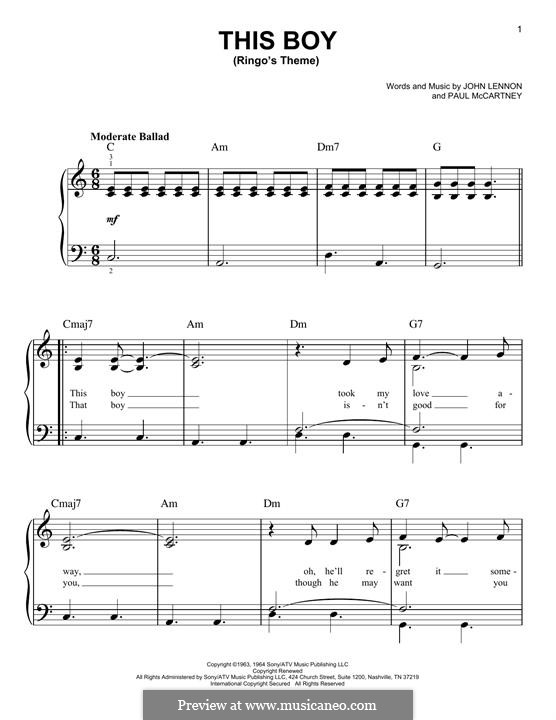 This Boy (Ringo's Theme): Für Klavier by John Lennon, Paul McCartney