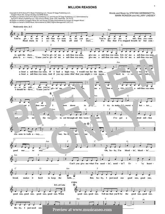 Million Reasons (Lady Gaga): Melodische Linie by Hillary Lindsey, Mark Ronson, Stefani Germanotta