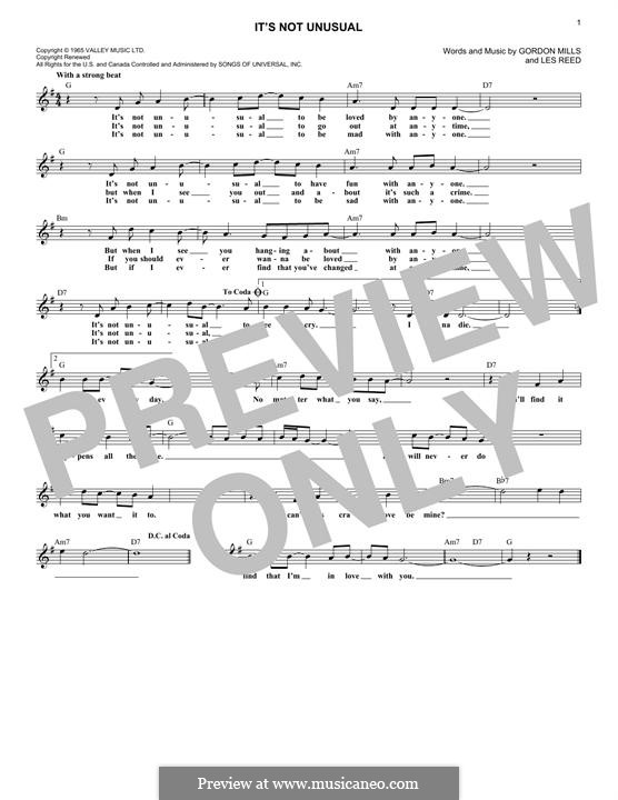 It's not Unusual (Tom Jones): Melodische Linie by Gordon Mills, Les Reed