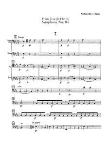 Sinfonie Nr.84 in Es-Dur 'In nomine Domini', Hob.I/84: Cello- und Kontrabass-Stimme by Joseph Haydn