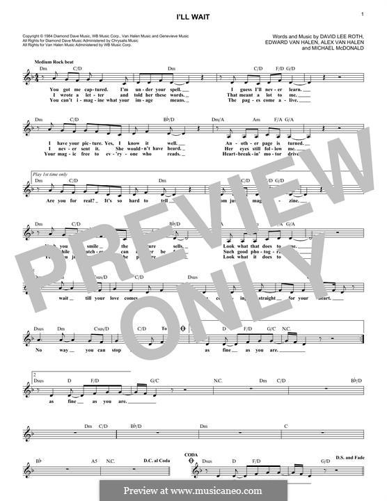 I'll Wait: Melodische Linie by Alex Van Halen, Edward Van Halen, Michael McDonald
