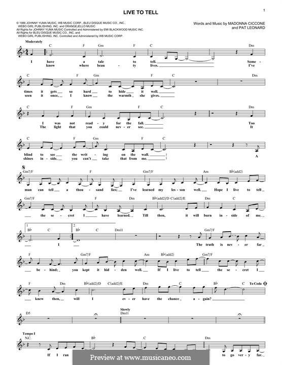 Live to Tell: Melodische Linie by Madonna, Patrick Leonard