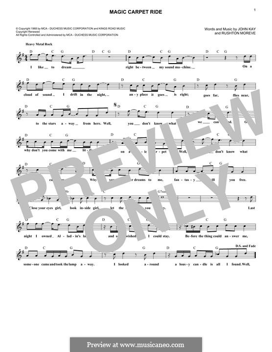 Magic Carpet Ride (Steppenwolf): Melodische Linie by John Kay, Rushton Moreve