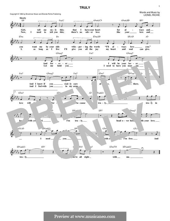 Truly: Melodische Linie by Lionel Richie