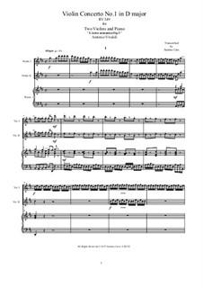 Konzert für vier Violinen und Streicher Nr.1 in D-Dur, RV 549: Arrangement for two violins and piano by Antonio Vivaldi