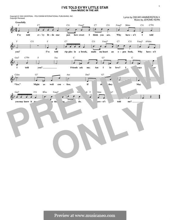 I've Told Ev'ry Little Star: Melodische Linie by Jerome Kern