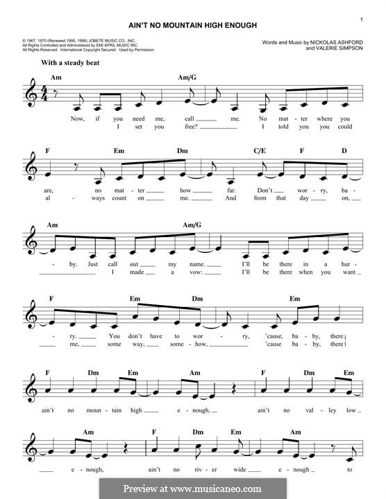 Ain't No Mountain High Enough (Marvin Gaye & Tammi Terrell): Melodische Linie by Nicholas Ashford, Valerie Simpson