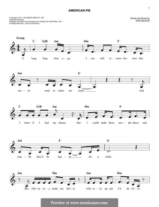 American Pie (Madonna): Melodische Linie by Don McLean