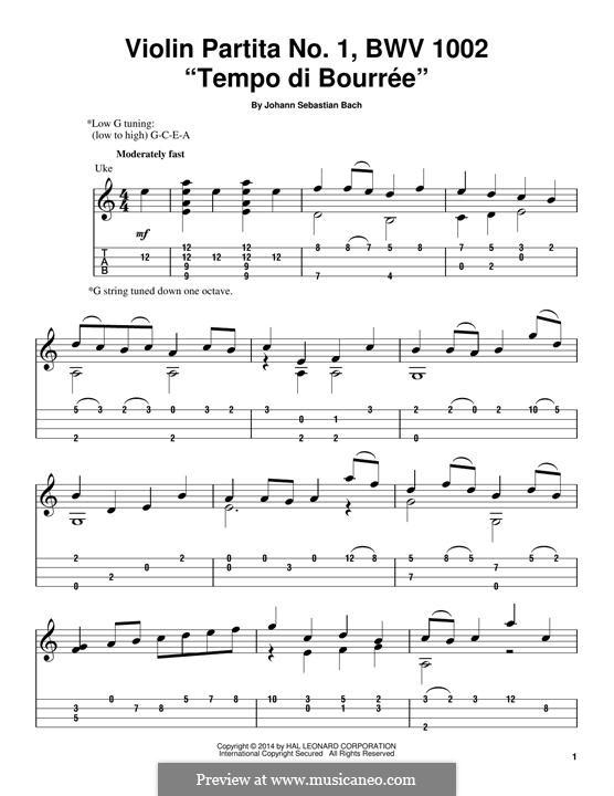 Partita für Violine Nr.1 in h-Moll, BWV 1002: Tempo di Bourree, for ukulele by Johann Sebastian Bach