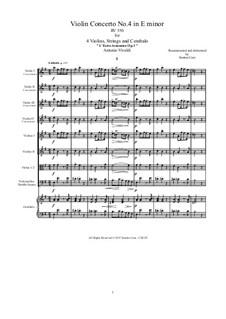 Concerto for Violin and Strings No.4 in E Minor, RV 550: Score, parts by Antonio Vivaldi