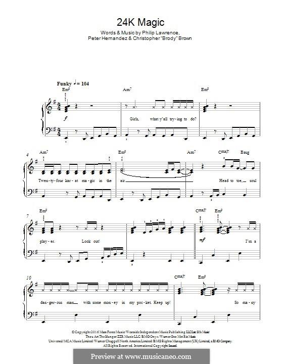 24K Magic: Für Klavier by Christopher Brown, Bruno Mars, Philip Lawrence