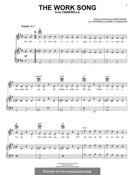 The Work Song (Mack David): Für Stimme und Klavier (oder Gitarre) by Al Hoffman, Jerry Livingston
