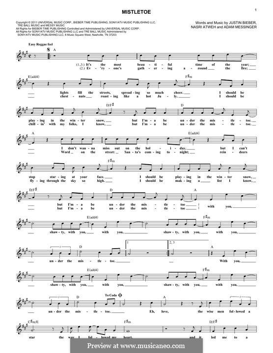 Mistletoe: Melodische Linie by Adam Messinger, Justin Bieber, Nasri Atweh