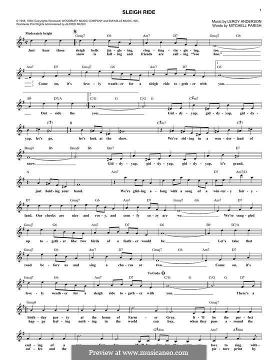 Sleigh Ride: Melodische Linie by Leroy Anderson