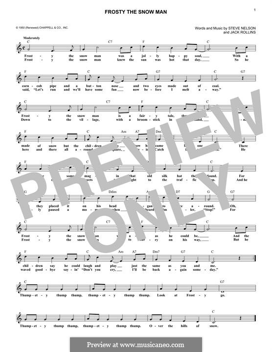 Frosty the Snow Man: Melodische Linie by Jack Rollins, Steve Nelson