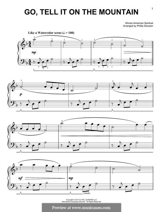 Go, Tell it on the Mountain (Printable Scores): For piano (classical version) by folklore