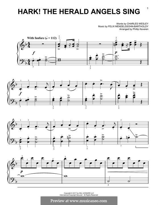 Hark! The Herald Angels Sing, for Piano: Für einen Interpreten by Felix Mendelssohn-Bartholdy
