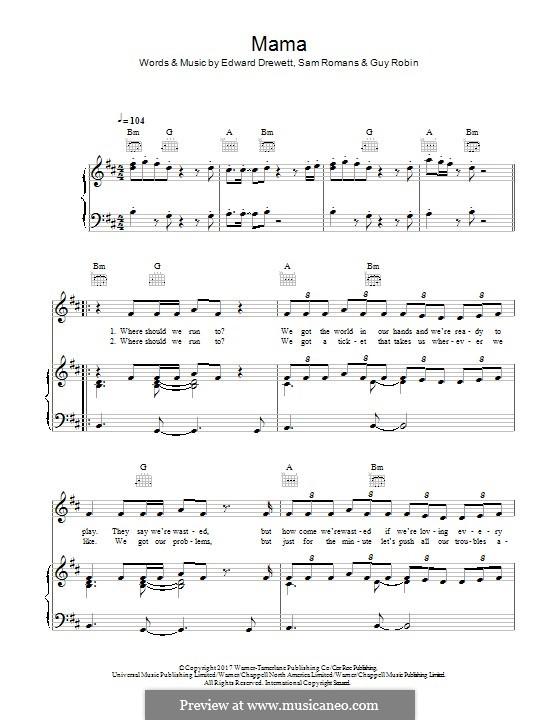 Mama (Jonas Blue feat. William Singe): Für Stimme und Klavier (oder Gitarre) by Ed Drewett, Sam Romans, Guy Robin