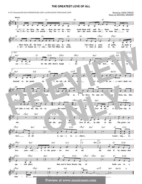 The Greatest Love of All (Whitney Houston): Melodische Linie by Michael Masser