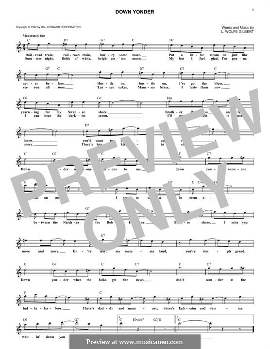 Down Yonder: Melodische Linie by L. Wolfe Gilbert