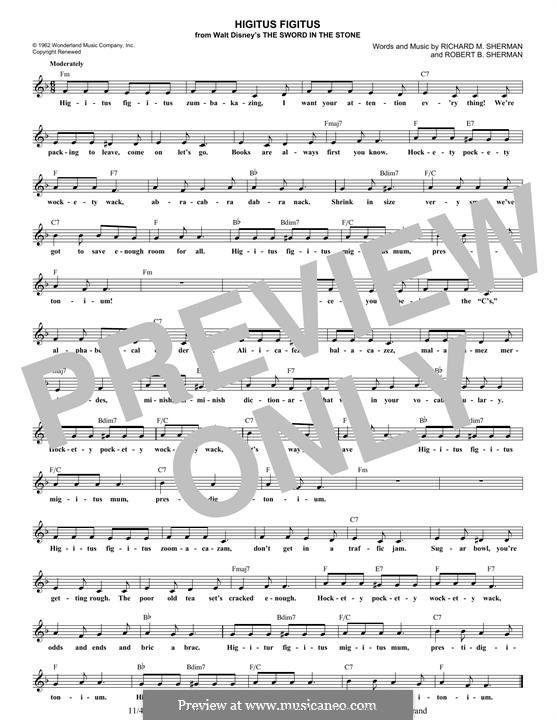 Higitus Figitus: Melodische Linie by Richard M. Sherman, Robert B. Sherman