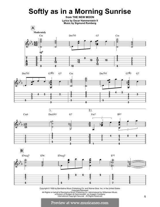 Softly as in a Morning Sunrise: Für Gitarre mit Tabulatur by Sigmund Romberg