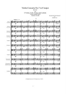 Konzert für vier Violinen, Cello und Streicher Nr.7 in F-Dur, RV 567: Score, parts by Antonio Vivaldi