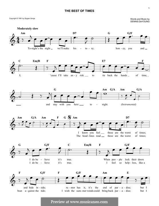 The Best of Times (Styx): Melodische Linie by Dennis DeYoung