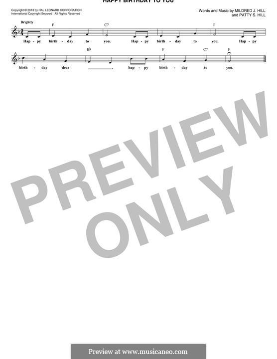 Zum Geburtstag viel Glück: Melodische Linie by Mildred Hill