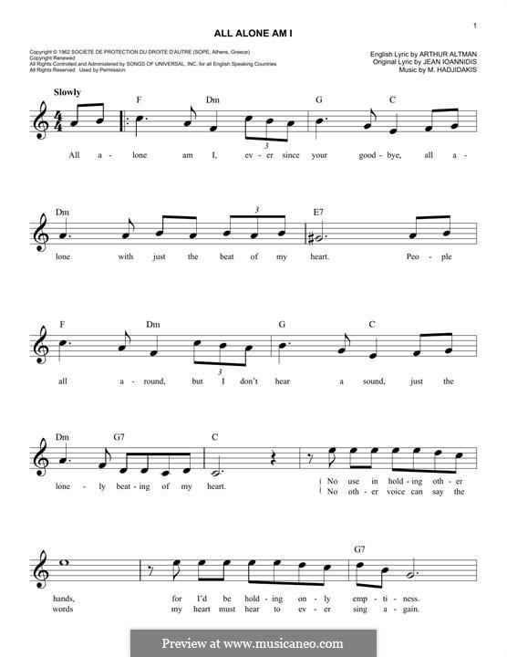 All Alone am I (Brenda Lee): Melodische Linie by Manos Hadjidakis